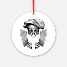 Chef skull: v1 Round Ornament