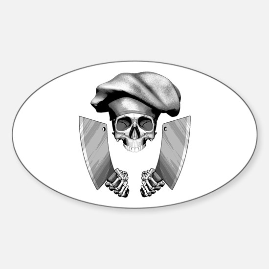 Chef skull: v1 Sticker (Oval)
