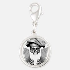 Chef skull: v1 Silver Round Charm