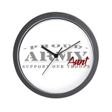 Proud Army Aunt (red) Wall Clock
