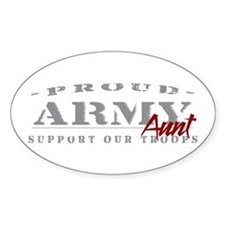 Proud Army Aunt (red) Oval Decal