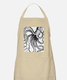 Black and White Ancient Octopus Apron