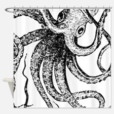 Black and White Ancient Octopus Shower Curtain