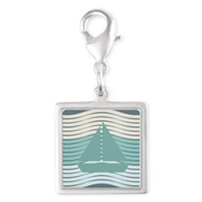 Aqua Green Boat Dark Blue Sea Waves Charms