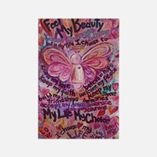 Pink Cancer Angel Rectangle Magnet (10 pack)