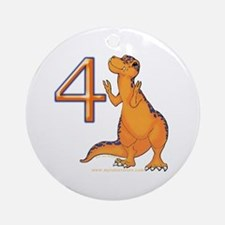 Kids Dino 4th Birthday Gifts Ornament (Round)