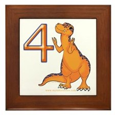 Kids Dino 4th Birthday Gifts Framed Tile