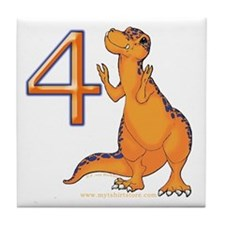 Kids Dino 4th Birthday Gifts Tile Coaster