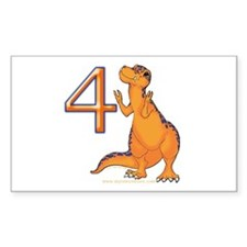Kids Dino 4th Birthday Gifts Rectangle Decal
