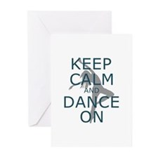 Keep Calm and Dance On Teal Greeting Cards