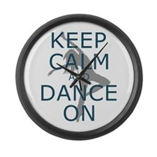 Keep Calm and Dance On Teal Large Wall Clock