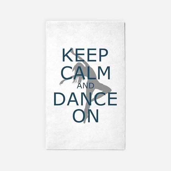 Keep Calm and Dance On Teal 3'x5' Area Rug