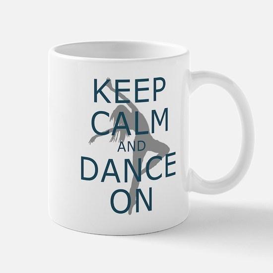 Keep Calm and Dance On Teal Mugs
