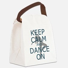 Keep Calm and Dance On Teal Canvas Lunch Bag