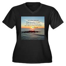 ROMANS 8:28 Women's Plus Size V-Neck Dark T-Shirt