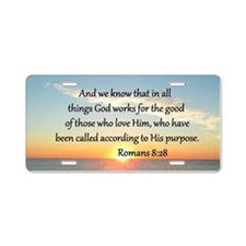 ROMANS 8:28 Aluminum License Plate