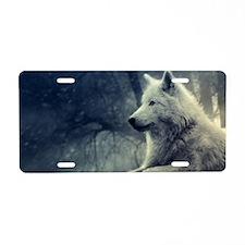 Cute White wolf Aluminum License Plate