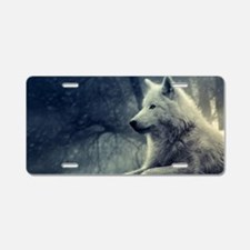 Cute White wolf Aluminum License Plate