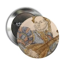 """Lute palyer, 16th c engraving by Stim 2.25"""" Button"""
