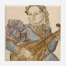 Lute palyer, 16th c engraving by Stim Tile Coaster
