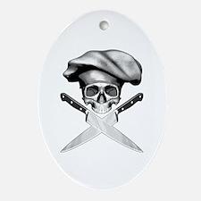 Chef skull: v2 Oval Ornament