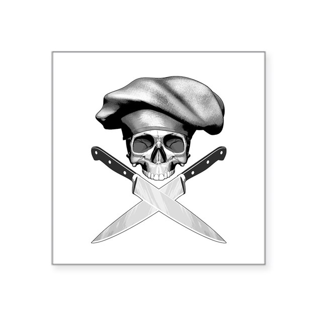 chef skull v2 square sticker 3 x 3 by rotntees. Black Bedroom Furniture Sets. Home Design Ideas