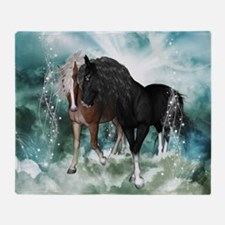 Wonderful couple horses in the sky Throw Blanket