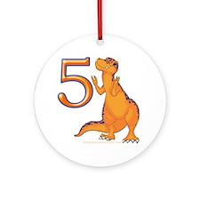 Kids Dino 5th Birthday Gifts Ornament (Round)
