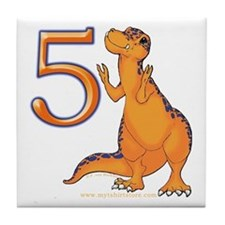 Kids Dino 5th Birthday Gifts Tile Coaster
