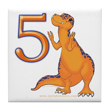 Kids Dino 5th Birthday Gifts Tile Coaster