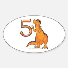 Kids Dino 5th Birthday Gifts Oval Decal