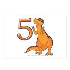 Dino 5th Birthday Invitation Postcards (8 pack)