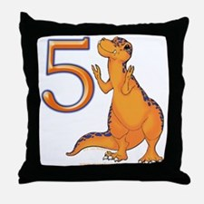 Kids Dino 5th Birthday Gifts Throw Pillow