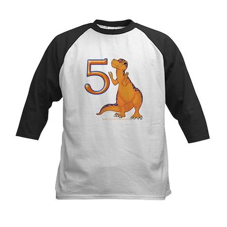 Kids Dino 5th Birthday Gifts Kids Baseball Jersey