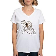 Dark Brown Vintage Wood block cut Octopus T-Shirt