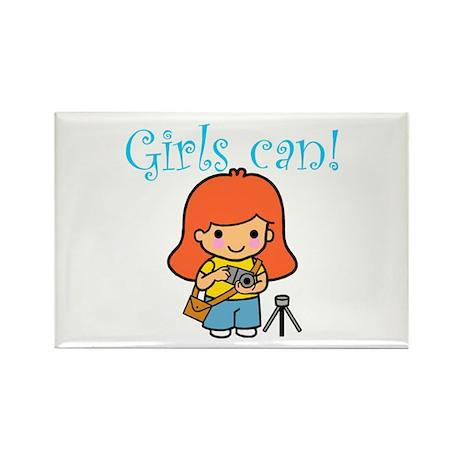 Girl Photographer Rectangle Magnet (10 pack)
