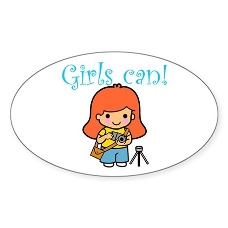 Girl Photographer Oval Sticker