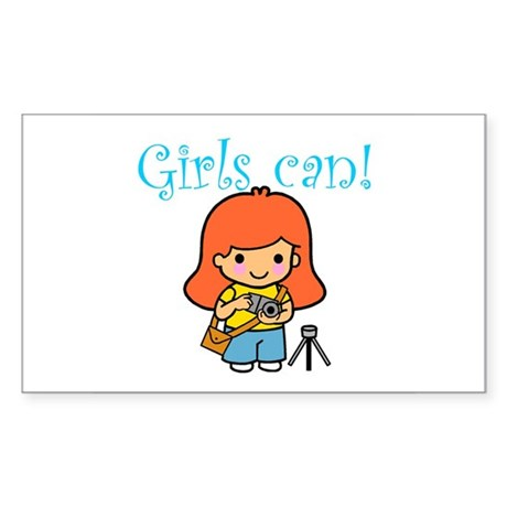 Girl Photographer Rectangle Sticker
