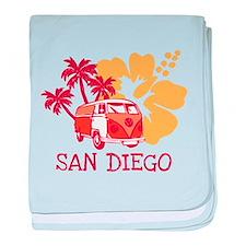 San Diego Hippie Surf Bus baby blanket