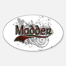 Madder Tartan Grunge Sticker (Oval)
