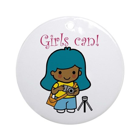 Girl Photographer Ornament (Round)
