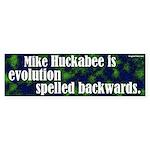 Huckabee is evolution backwards bumpersticker