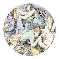 Samson is captured after Delilah  Round Car Magnet