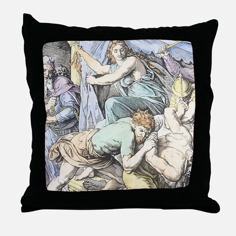 Samson is captured after Delilah cuts Throw Pillow