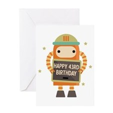 Happy 43rd Birthday Retro Robot Greeting Cards