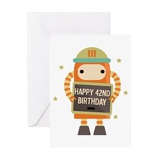 Happy 42nd Birthday Retro Robot Greeting Cards