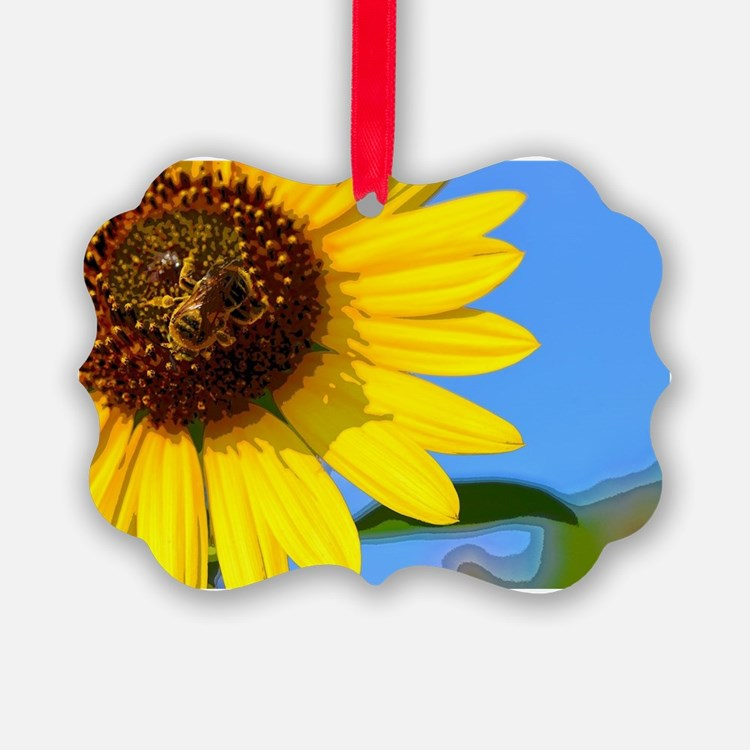 Sunflower and Honeybee Ornament