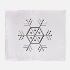 Silver and Gold Snowflake Throw Blanket