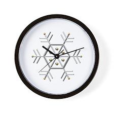 Silver and Gold Snowflake Wall Clock