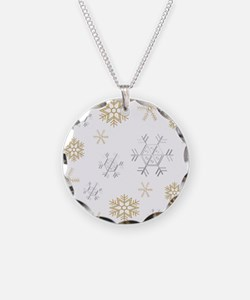 Silver and Gold Snowflakes Necklace
